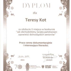 Dyplom za 2 miejsce w konkursie