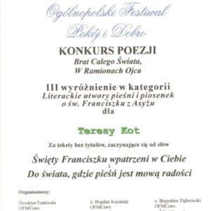 Dyplom w konkursie poezji