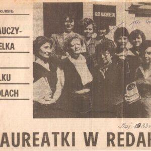 Okładka w starej gazecie: Laureatki w Redakcji