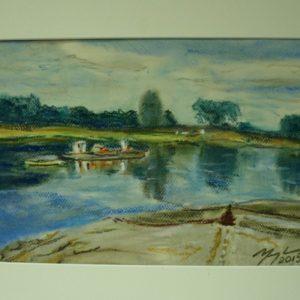 Obraz przedstawiający jezioro z łódkami