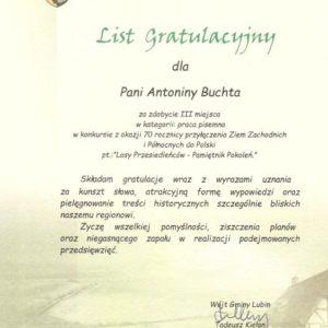 List gratulacyjny Pamiętnik Pokoleń