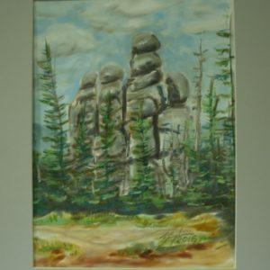 Obraz przedstawiający kamienie w lesie