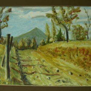 Obraz przedstawiający drogę polną i góry w tle