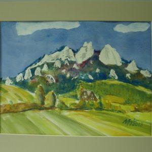 Obraz przedstawiający pola i góry