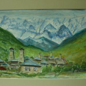 Obraz przedstawiający pola, domki i góry