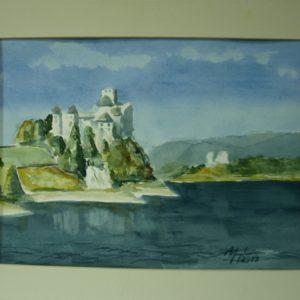 Obraz przedstawiający jezioro i zamek na skale