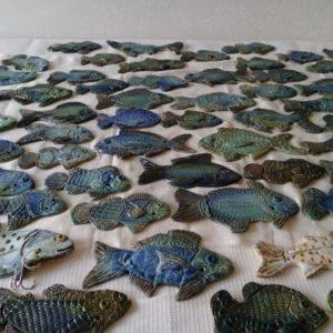 Rzeźby ryb pani Mirosławy