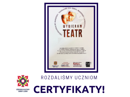 Wybieram Teatr 2019 - Certyfikaty