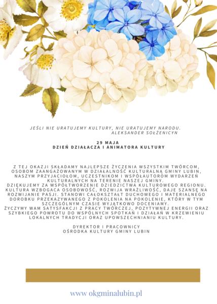 życzenia z kwiatami na dzień działacza kultury