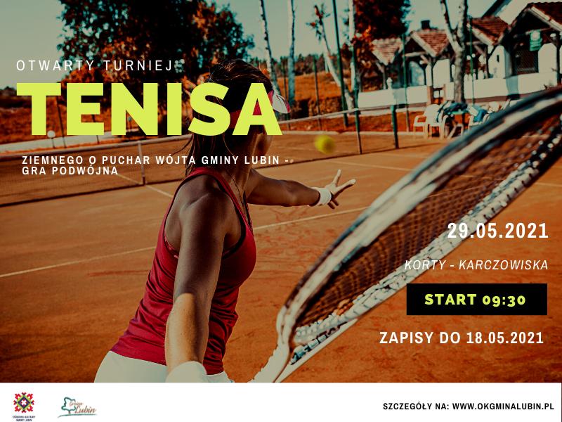Plakat promujący imprezę Otwarty Turniej Tenisa Ziemnego - debel